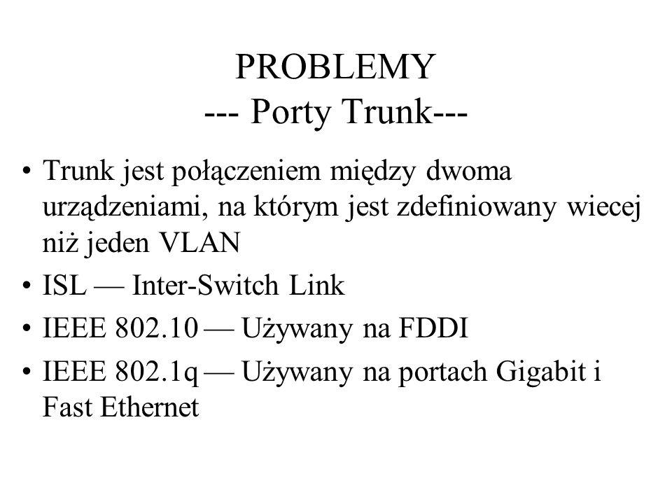 PROBLEMY --- Porty Trunk--- Trunk jest połączeniem między dwoma urządzeniami, na którym jest zdefiniowany wiecej niż jeden VLAN ISL Inter-Switch Link