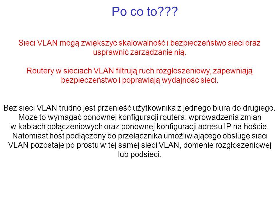 Po co to??? Sieci VLAN mogą zwiększyć skalowalność i bezpieczeństwo sieci oraz usprawnić zarządzanie nią. Routery w sieciach VLAN filtrują ruch rozgło