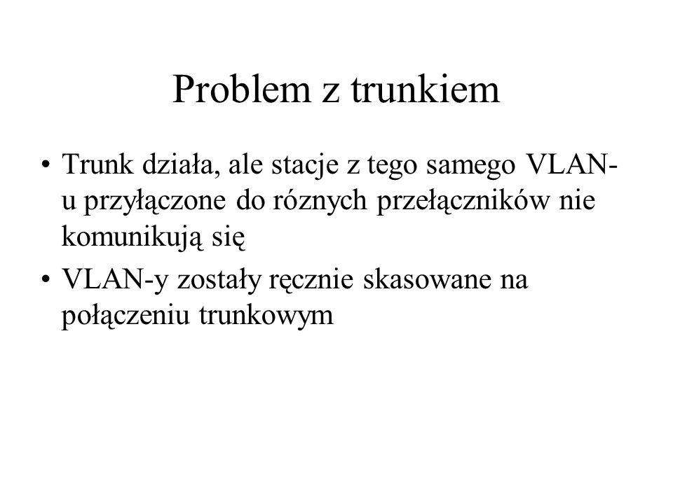 Problem z trunkiem Trunk działa, ale stacje z tego samego VLAN- u przyłączone do róznych przełączników nie komunikują się VLAN-y zostały ręcznie skaso
