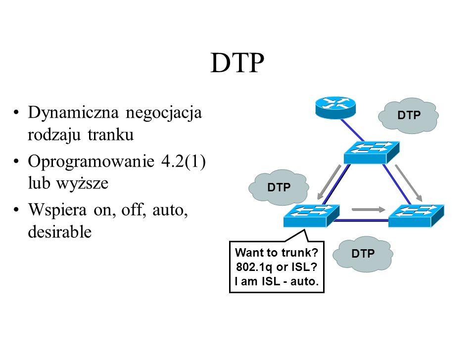 DTP Dynamiczna negocjacja rodzaju tranku Oprogramowanie 4.2(1) lub wyższe Wspiera on, off, auto, desirable Want to trunk? 802.1q or ISL? I am ISL - au