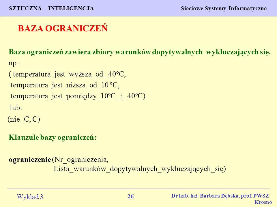 26 Wykład 3 PROGNOZOWANIE WŁAŚCIWOŚCI MATERIAŁÓW Inżynieria Materiałowa SZTUCZNA INTELIGENCJA Sieciowe Systemy Informatyczne Dr hab. inż. Barbara Dębs