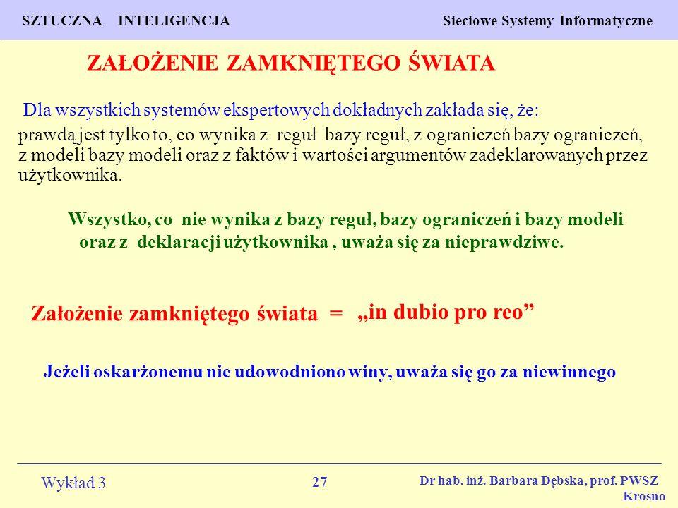 27 Wykład 3 PROGNOZOWANIE WŁAŚCIWOŚCI MATERIAŁÓW Inżynieria Materiałowa SZTUCZNA INTELIGENCJA Sieciowe Systemy Informatyczne Dr hab. inż. Barbara Dębs