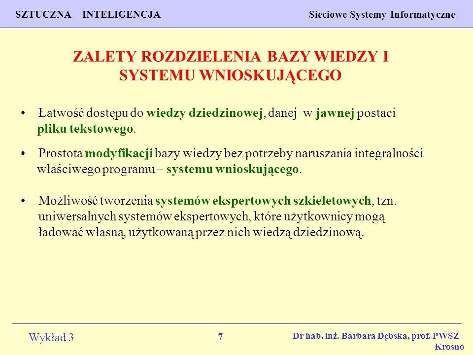 18 Wykład 3 PROGNOZOWANIE WŁAŚCIWOŚCI MATERIAŁÓW Inżynieria Materiałowa SZTUCZNA INTELIGENCJA Sieciowe Systemy Informatyczne Dr hab.