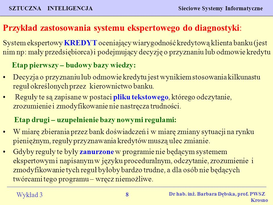 8 Wykład 3 PROGNOZOWANIE WŁAŚCIWOŚCI MATERIAŁÓW Inżynieria Materiałowa SZTUCZNA INTELIGENCJA Sieciowe Systemy Informatyczne Dr hab. inż. Barbara Dębsk