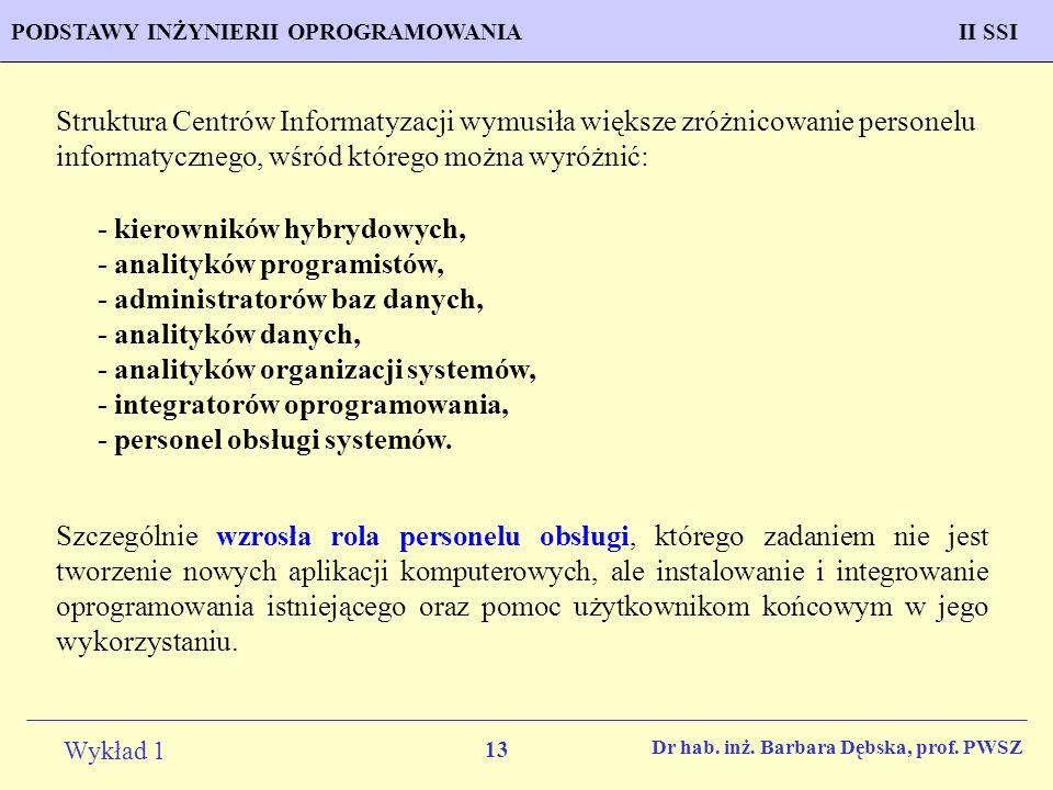 13 Wykład 1 PROGNOZOWANIE WŁAŚCIWOŚCI MATERIAŁÓW Inżynieria MateriałowaPODSTAWY INŻYNIERII OPROGRAMOWANIAII SSI Dr hab. inż. Barbara Dębska, prof. PWS