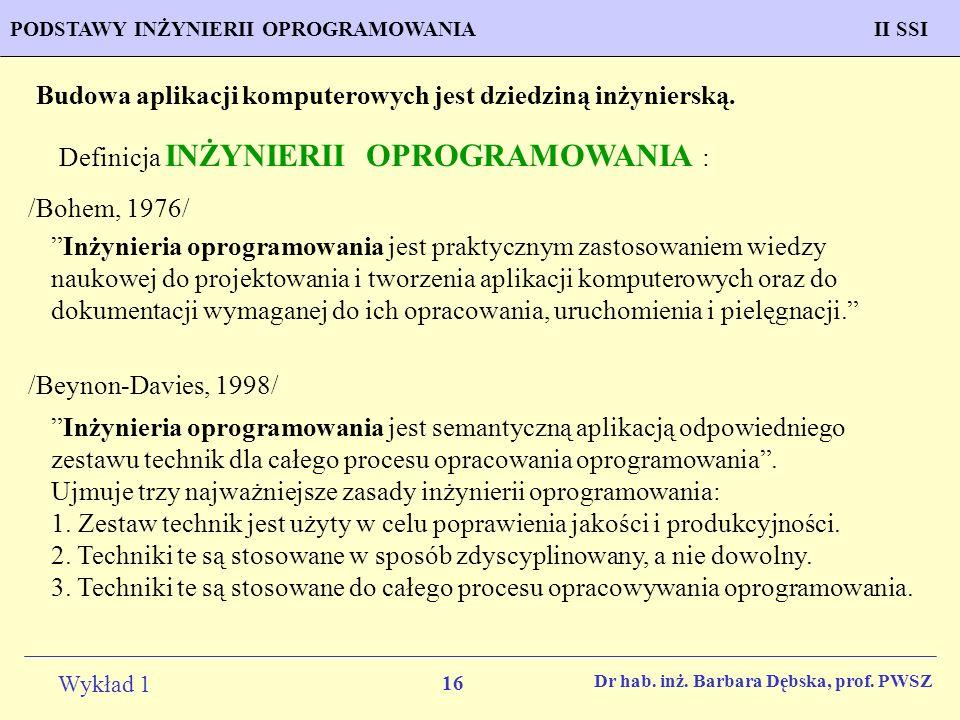 16 Wykład 1 PROGNOZOWANIE WŁAŚCIWOŚCI MATERIAŁÓW Inżynieria MateriałowaPODSTAWY INŻYNIERII OPROGRAMOWANIAII SSI Dr hab. inż. Barbara Dębska, prof. PWS