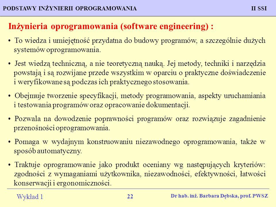 22 Wykład 1 PROGNOZOWANIE WŁAŚCIWOŚCI MATERIAŁÓW Inżynieria MateriałowaPODSTAWY INŻYNIERII OPROGRAMOWANIAII SSI Dr hab. inż. Barbara Dębska, prof. PWS