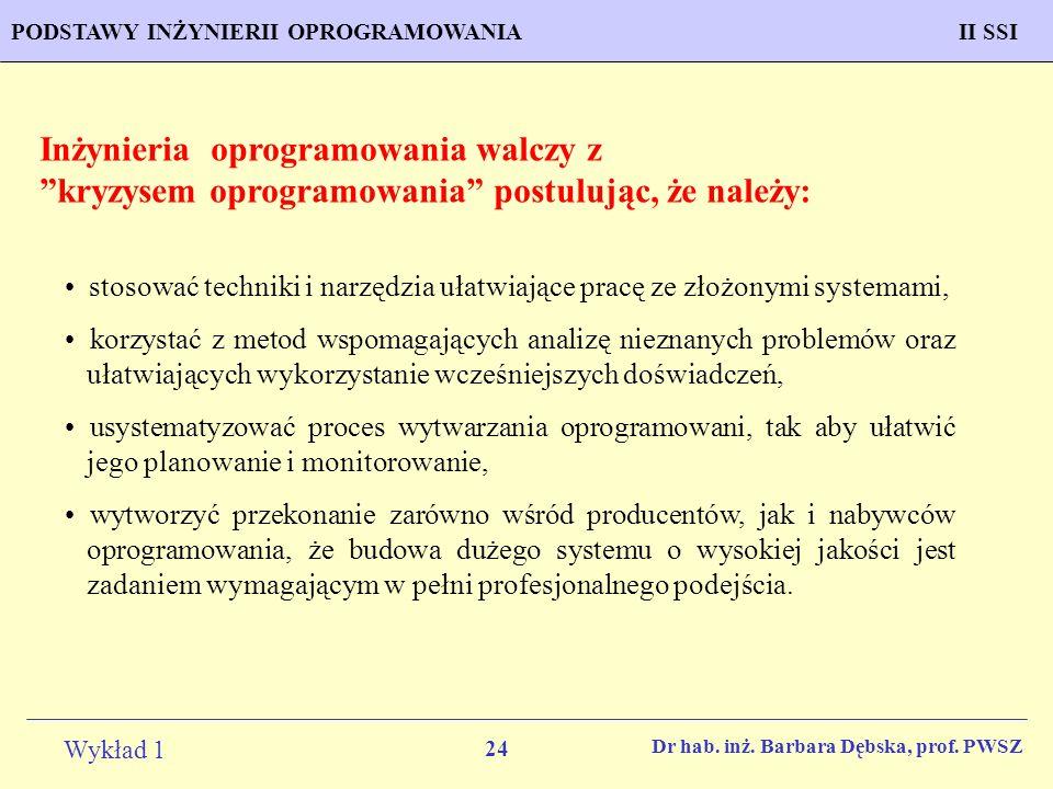 24 Wykład 1 PROGNOZOWANIE WŁAŚCIWOŚCI MATERIAŁÓW Inżynieria MateriałowaPODSTAWY INŻYNIERII OPROGRAMOWANIAII SSI Dr hab. inż. Barbara Dębska, prof. PWS