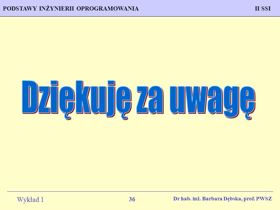 36 Wykład 1 PROGNOZOWANIE WŁAŚCIWOŚCI MATERIAŁÓW Inżynieria MateriałowaPODSTAWY INŻYNIERII OPROGRAMOWANIAII SSI Dr hab. inż. Barbara Dębska, prof. PWS
