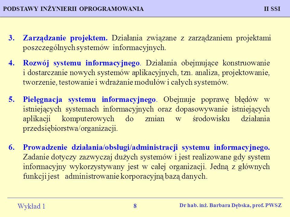 8 Wykład 1 PROGNOZOWANIE WŁAŚCIWOŚCI MATERIAŁÓW Inżynieria MateriałowaPODSTAWY INŻYNIERII OPROGRAMOWANIAII SSI Dr hab. inż. Barbara Dębska, prof. PWSZ