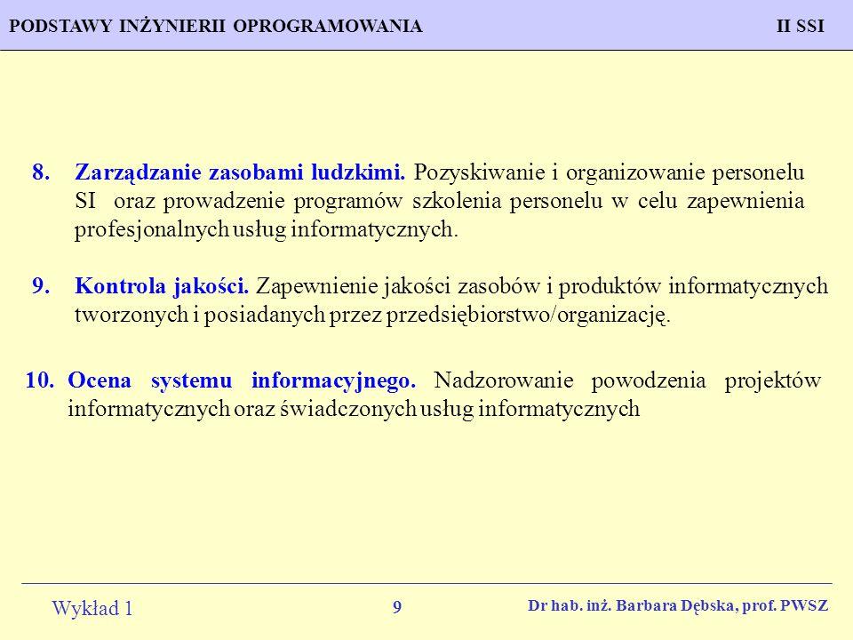 9 Wykład 1 PROGNOZOWANIE WŁAŚCIWOŚCI MATERIAŁÓW Inżynieria MateriałowaPODSTAWY INŻYNIERII OPROGRAMOWANIAII SSI Dr hab. inż. Barbara Dębska, prof. PWSZ