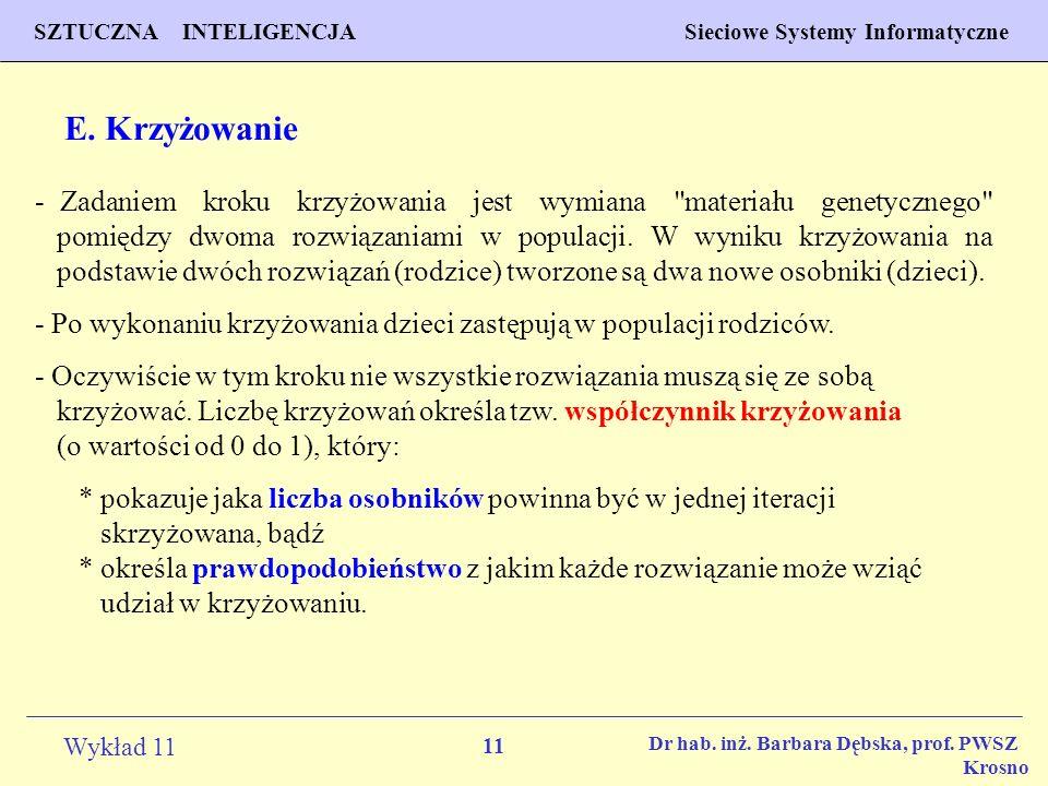 11 Wykład 11 SZTUCZNA INTELIGENCJA Sieciowe Systemy Informatyczne Dr hab. inż. Barbara Dębska, prof. PWSZ Krosno E. Krzyżowanie - Zadaniem kroku krzyż