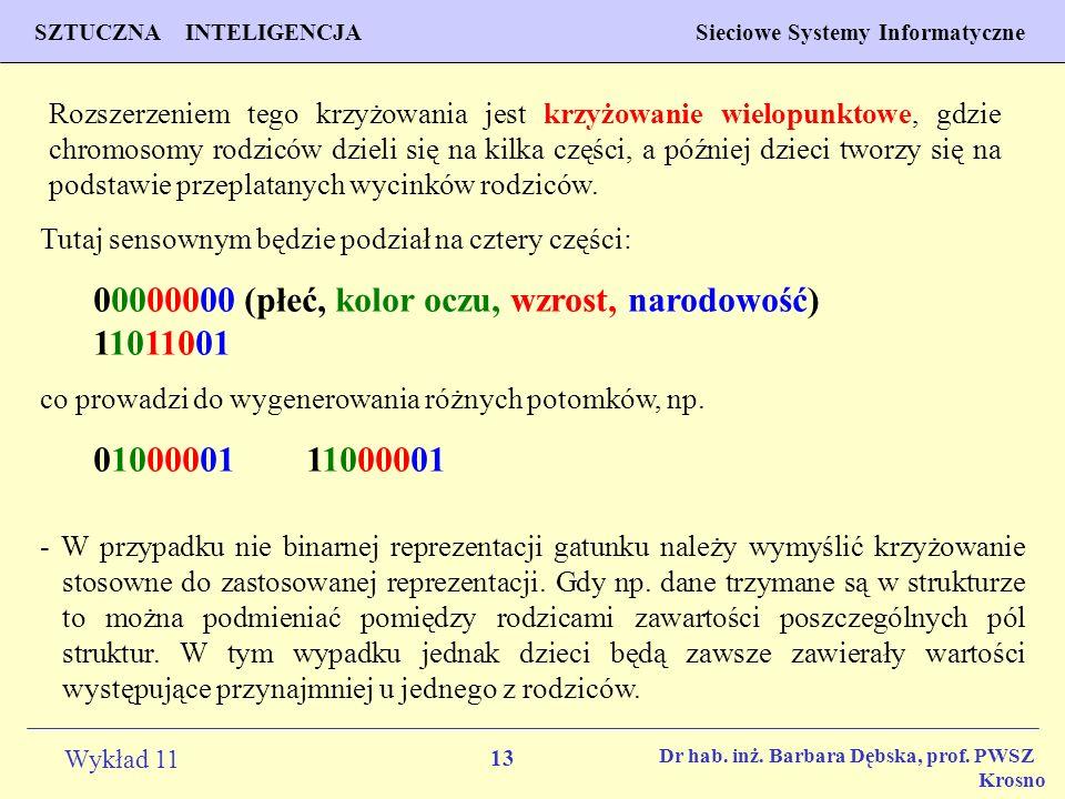 13 Wykład 11 SZTUCZNA INTELIGENCJA Sieciowe Systemy Informatyczne Dr hab. inż. Barbara Dębska, prof. PWSZ Krosno Rozszerzeniem tego krzyżowania jest k
