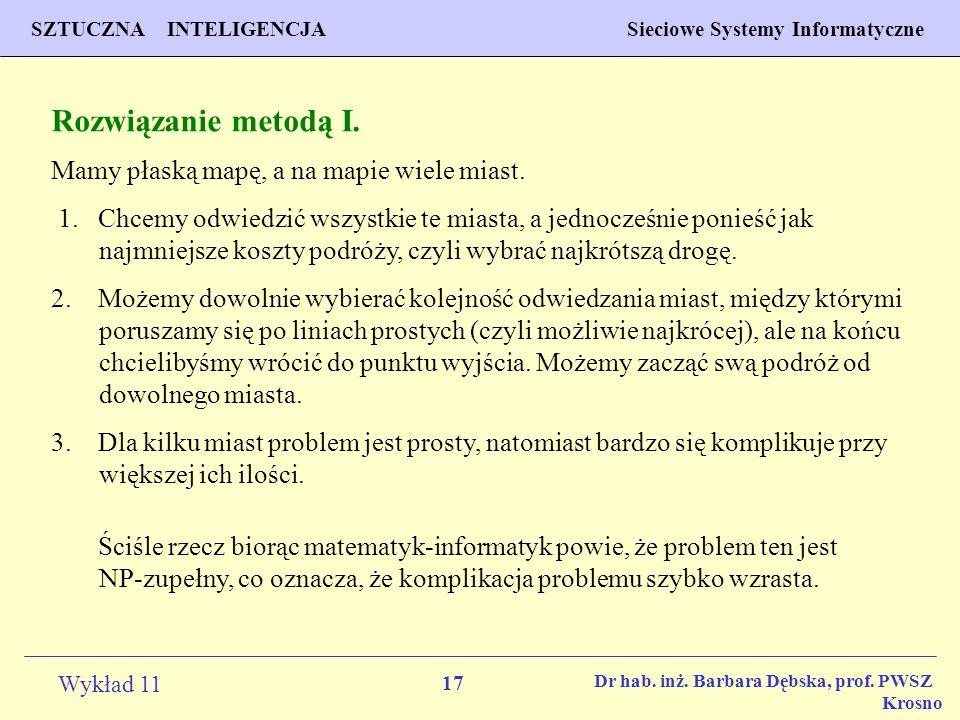 17 Wykład 11 SZTUCZNA INTELIGENCJA Sieciowe Systemy Informatyczne Dr hab. inż. Barbara Dębska, prof. PWSZ Krosno Rozwiązanie metodą I. Mamy płaską map