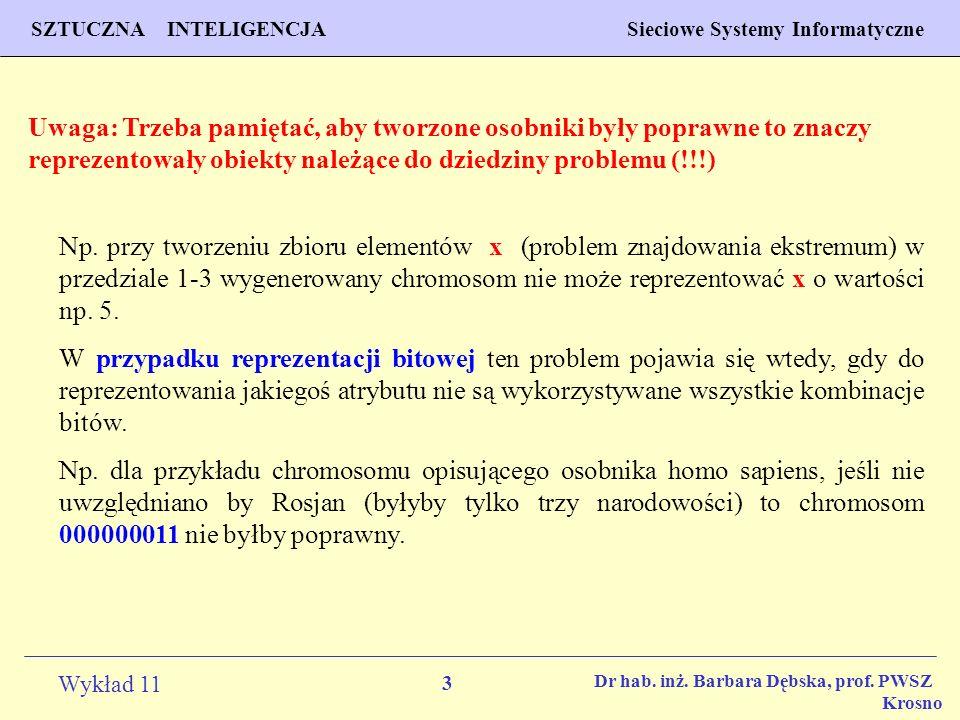 14 Wykład 11 SZTUCZNA INTELIGENCJA Sieciowe Systemy Informatyczne Dr hab.
