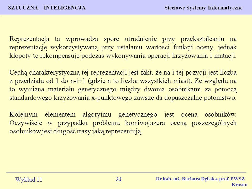 32 Wykład 11 SZTUCZNA INTELIGENCJA Sieciowe Systemy Informatyczne Dr hab. inż. Barbara Dębska, prof. PWSZ Krosno Reprezentacja ta wprowadza spore utru