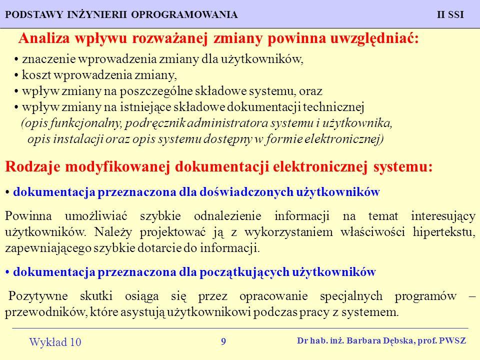 20 Wykład 10 PROGNOZOWANIE WŁAŚCIWOŚCI MATERIAŁÓW Inżynieria Materiałowa METODOLOGIA TWORZENIA APLIKACJI KOMPUTEROWYCH II SSIPODSTAWY INŻYNIERII OPROGRAMOWANIAII SSI Dr hab.