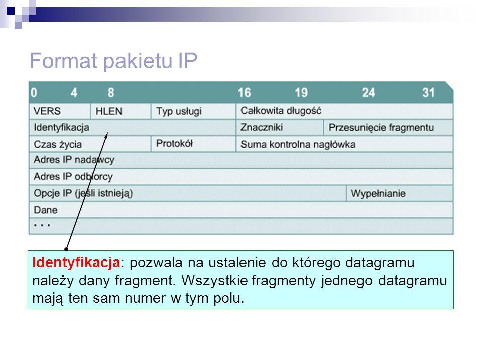 Format pakietu IP Identyfikacja: pozwala na ustalenie do którego datagramu należy dany fragment. Wszystkie fragmenty jednego datagramu mają ten sam nu