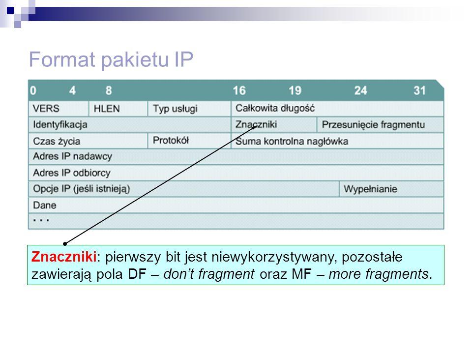 Format pakietu IP Znaczniki: pierwszy bit jest niewykorzystywany, pozostałe zawierają pola DF – dont fragment oraz MF – more fragments.