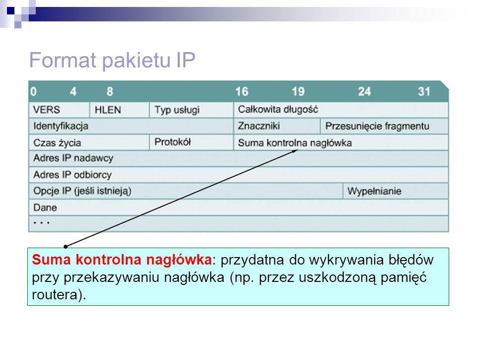 Format pakietu IP Suma kontrolna nagłówka: przydatna do wykrywania błędów przy przekazywaniu nagłówka (np. przez uszkodzoną pamięć routera).