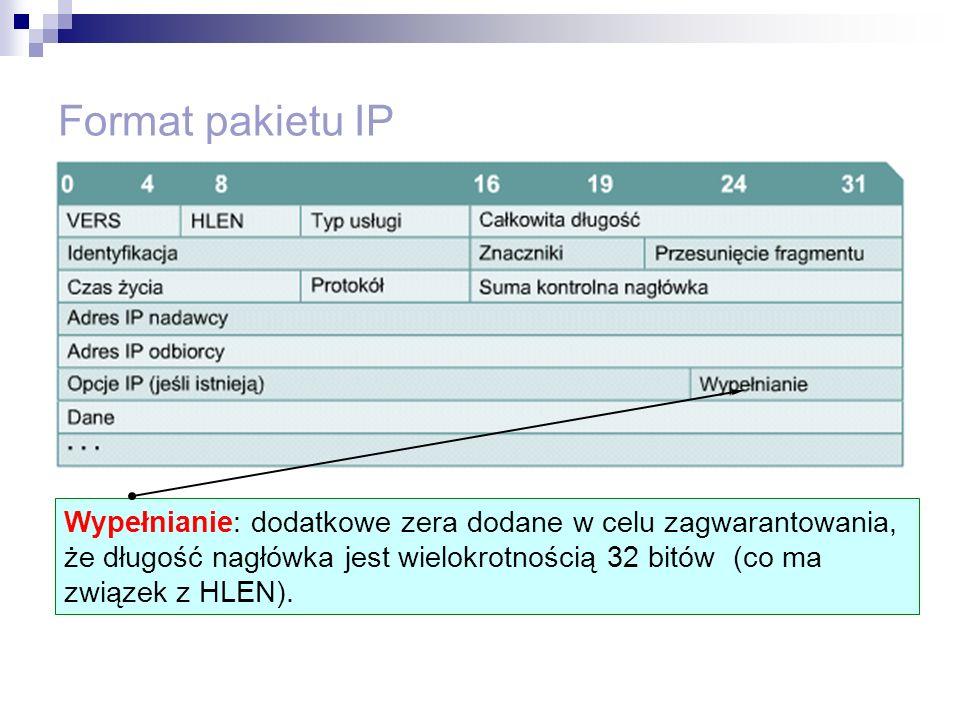 Format pakietu IP Wypełnianie: dodatkowe zera dodane w celu zagwarantowania, że długość nagłówka jest wielokrotnością 32 bitów (co ma związek z HLEN).