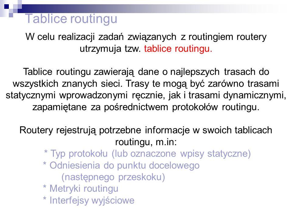 Tablice routingu W celu realizacji zadań związanych z routingiem routery utrzymuja tzw. tablice routingu. Tablice routingu zawierają dane o najlepszyc