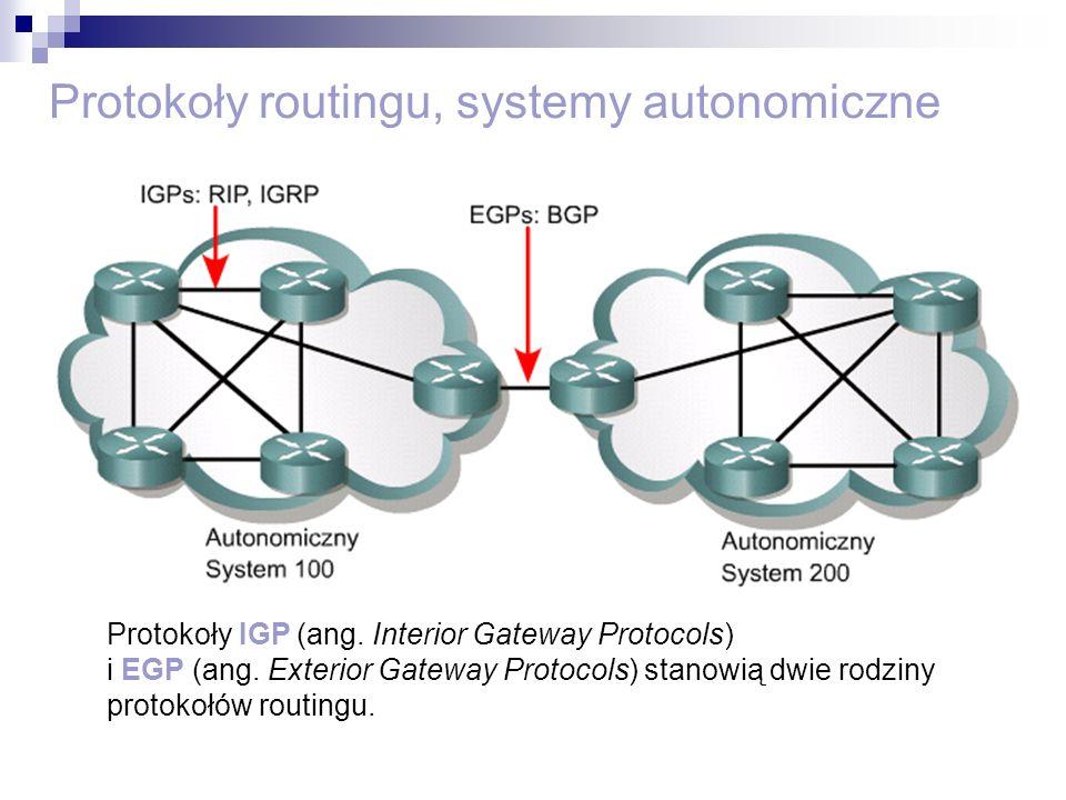 Protokoły routingu, systemy autonomiczne Protokoły IGP (ang. Interior Gateway Protocols) i EGP (ang. Exterior Gateway Protocols) stanowią dwie rodziny