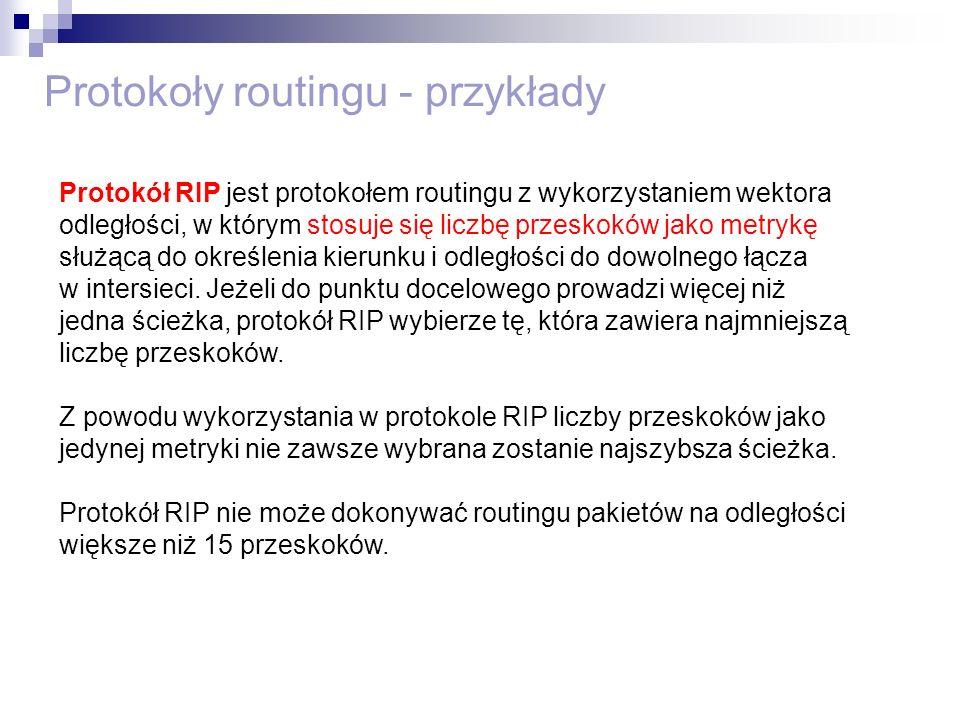 Protokoły routingu - przykłady Protokół RIP jest protokołem routingu z wykorzystaniem wektora odległości, w którym stosuje się liczbę przeskoków jako