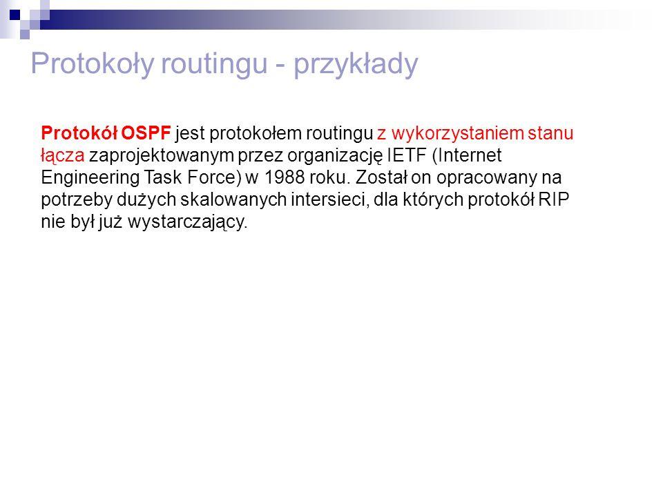 Protokoły routingu - przykłady Protokół OSPF jest protokołem routingu z wykorzystaniem stanu łącza zaprojektowanym przez organizację IETF (Internet En