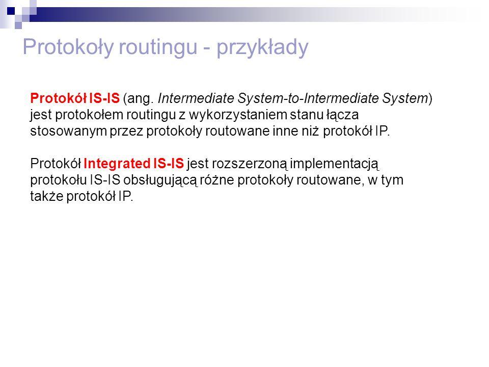 Protokoły routingu - przykłady Protokół IS-IS (ang. Intermediate System-to-Intermediate System) jest protokołem routingu z wykorzystaniem stanu łącza