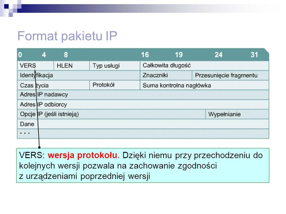 Format pakietu IP VERS: wersja protokołu. Dzięki niemu przy przechodzeniu do kolejnych wersji pozwala na zachowanie zgodności z urządzeniami poprzedni