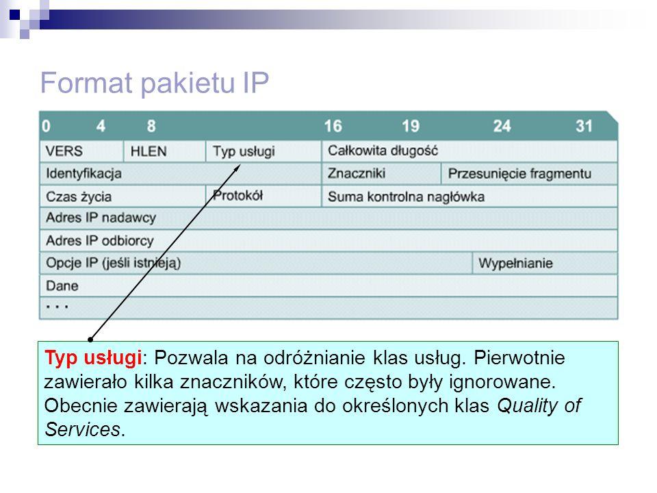 Format pakietu IP Typ usługi: Pozwala na odróżnianie klas usług. Pierwotnie zawierało kilka znaczników, które często były ignorowane. Obecnie zawieraj