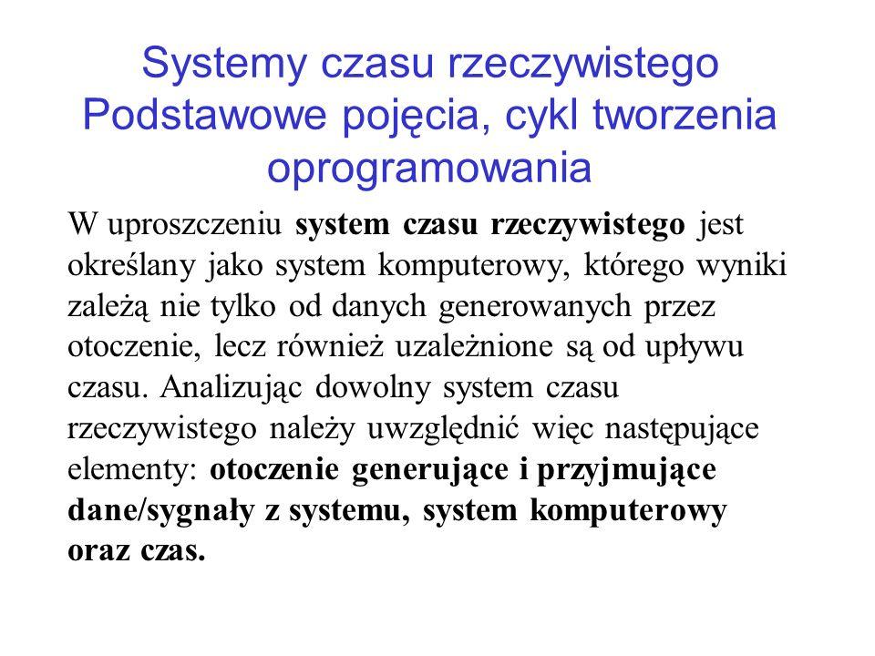 Systemy czasu rzeczywistego Podstawowe pojęcia, cykl tworzenia oprogramowania W uproszczeniu system czasu rzeczywistego jest określany jako system kom
