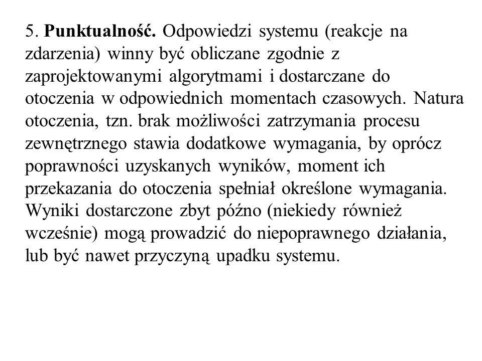 5. Punktualność. Odpowiedzi systemu (reakcje na zdarzenia) winny być obliczane zgodnie z zaprojektowanymi algorytmami i dostarczane do otoczenia w odp