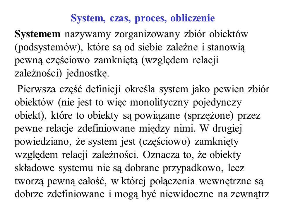 System, czas, proces, obliczenie Systemem nazywamy zorganizowany zbiór obiektów (podsystemów), które są od siebie zależne i stanowią pewną częściowo z