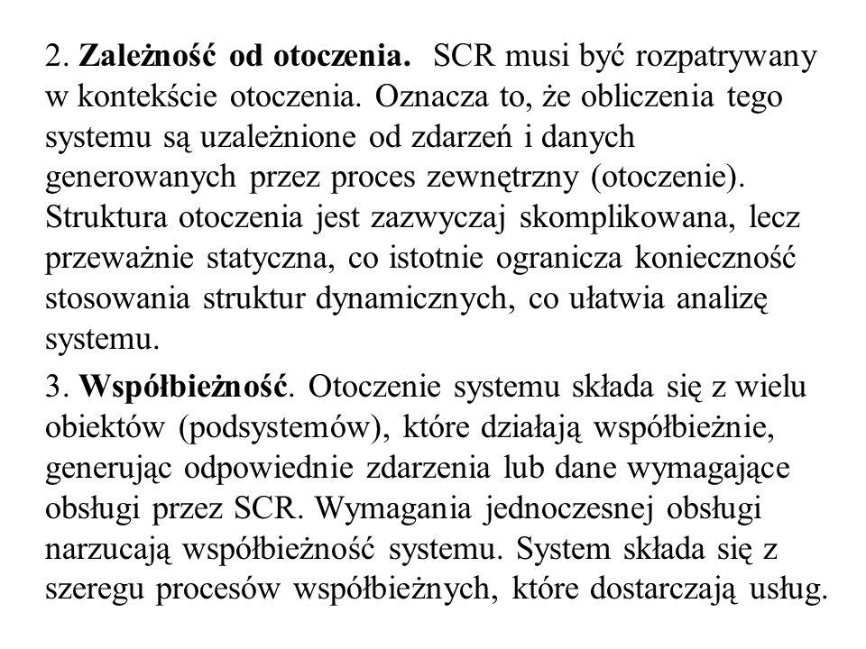 2. Zależność od otoczenia. SCR musi być rozpatrywany w kontekście otoczenia. Oznacza to, że obliczenia tego systemu są uzależnione od zdarzeń i danych