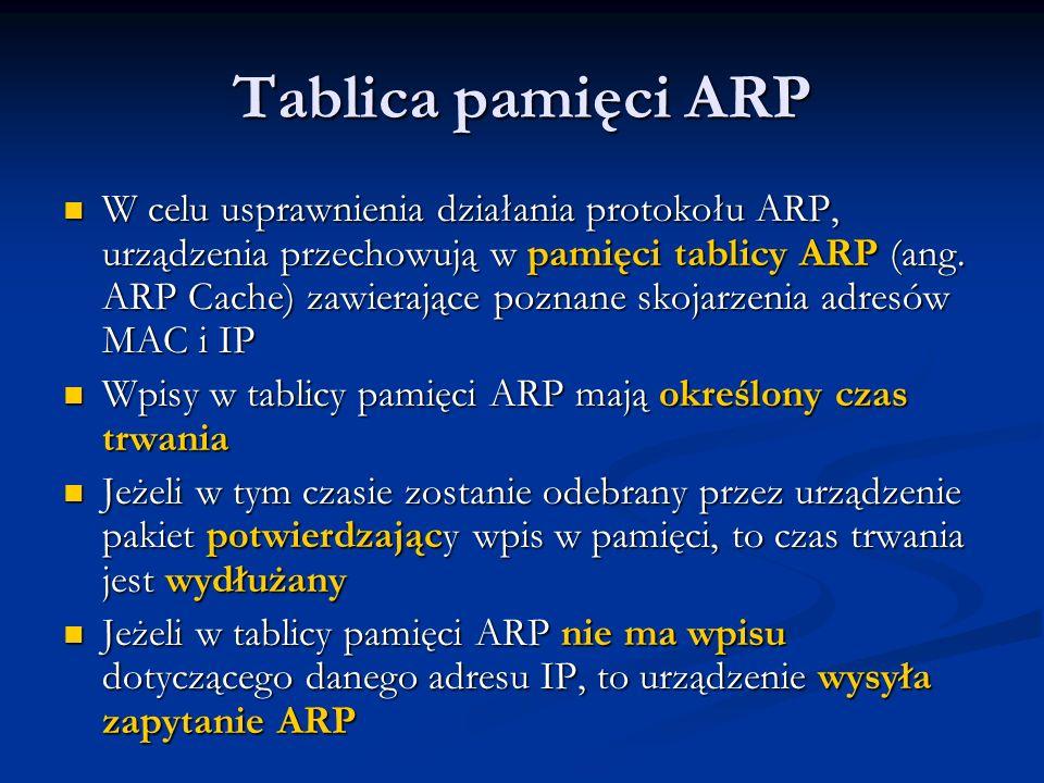 Tablica pamięci ARP W celu usprawnienia działania protokołu ARP, urządzenia przechowują w pamięci tablicy ARP (ang. ARP Cache) zawierające poznane sko
