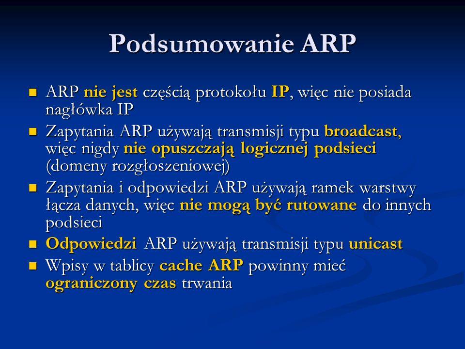 Podsumowanie ARP ARP nie jest częścią protokołu IP, więc nie posiada nagłówka IP ARP nie jest częścią protokołu IP, więc nie posiada nagłówka IP Zapyt