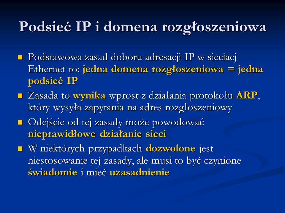 Podsieć IP i domena rozgłoszeniowa Podstawowa zasad doboru adresacji IP w sieciacj Ethernet to: jedna domena rozgłoszeniowa = jedna podsieć IP Podstaw