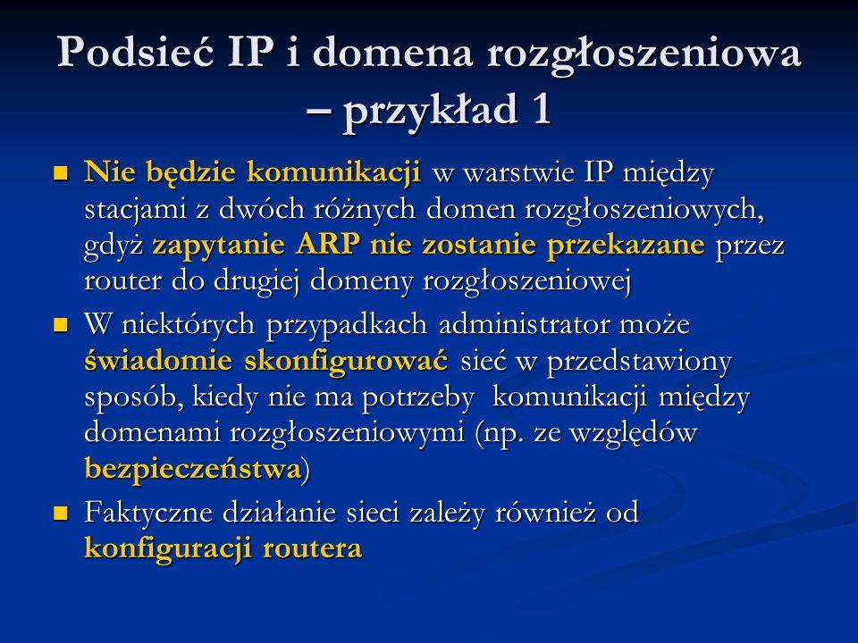 Podsieć IP i domena rozgłoszeniowa – przykład 1 Nie będzie komunikacji w warstwie IP między stacjami z dwóch różnych domen rozgłoszeniowych, gdyż zapy