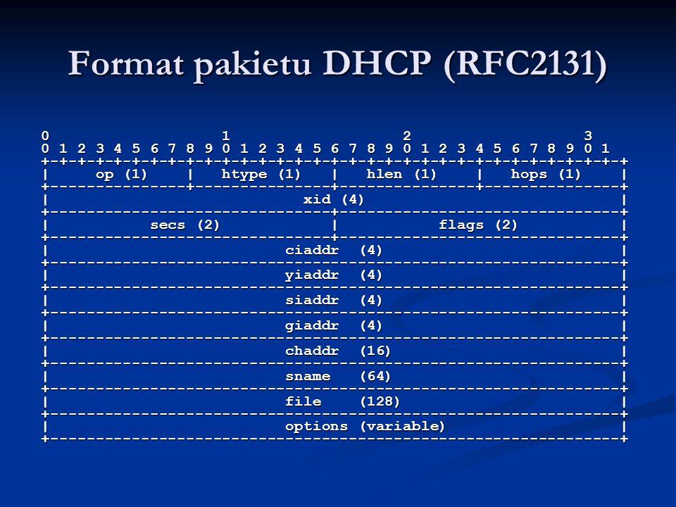 Format pakietu DHCP (RFC2131) 0 1 2 3 0 1 2 3 4 5 6 7 8 9 0 1 2 3 4 5 6 7 8 9 0 1 2 3 4 5 6 7 8 9 0 1 +-+-+-+-+-+-+-+-+-+-+-+-+-+-+-+-+-+-+-+-+-+-+-+-