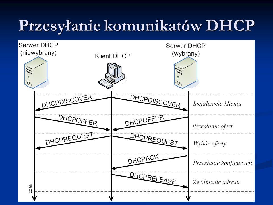 Przesyłanie komunikatów DHCP