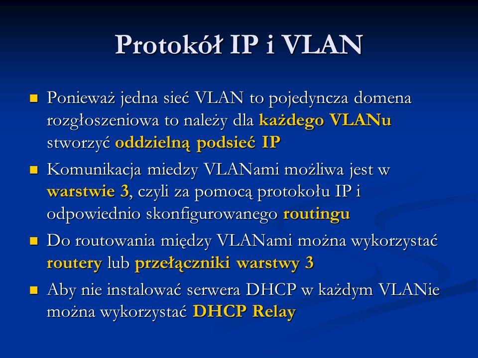 Protokół IP i VLAN Ponieważ jedna sieć VLAN to pojedyncza domena rozgłoszeniowa to należy dla każdego VLANu stworzyć oddzielną podsieć IP Ponieważ jed