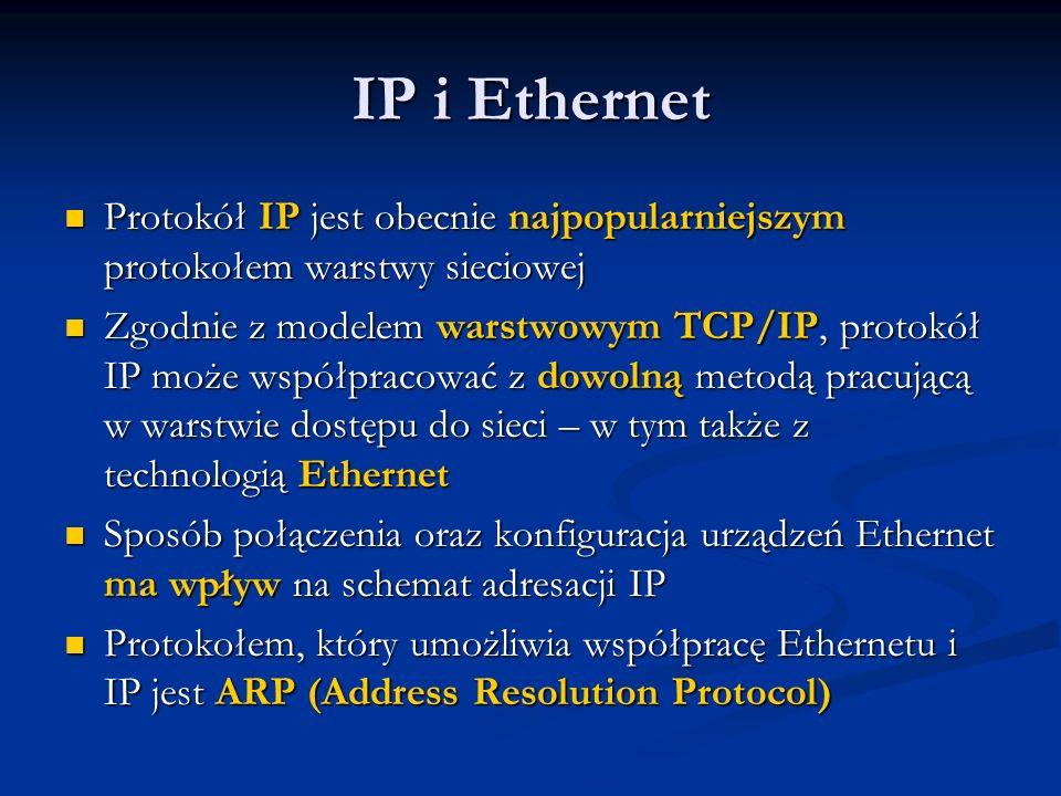 IP i Ethernet Protokół IP jest obecnie najpopularniejszym protokołem warstwy sieciowej Protokół IP jest obecnie najpopularniejszym protokołem warstwy