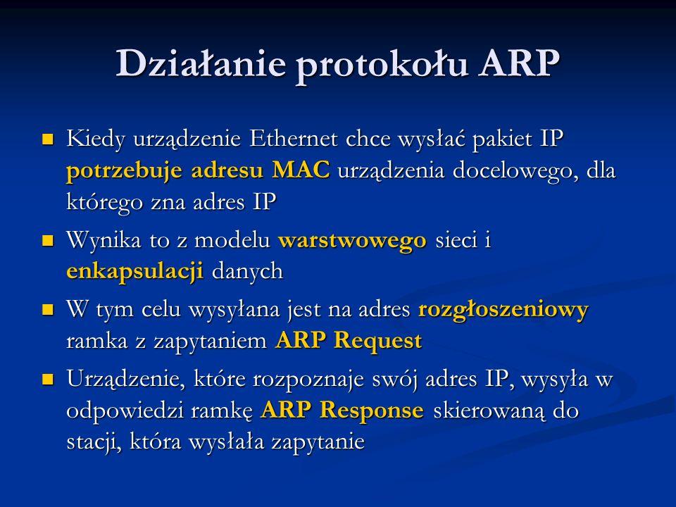 Działanie protokołu ARP Kiedy urządzenie Ethernet chce wysłać pakiet IP potrzebuje adresu MAC urządzenia docelowego, dla którego zna adres IP Kiedy ur
