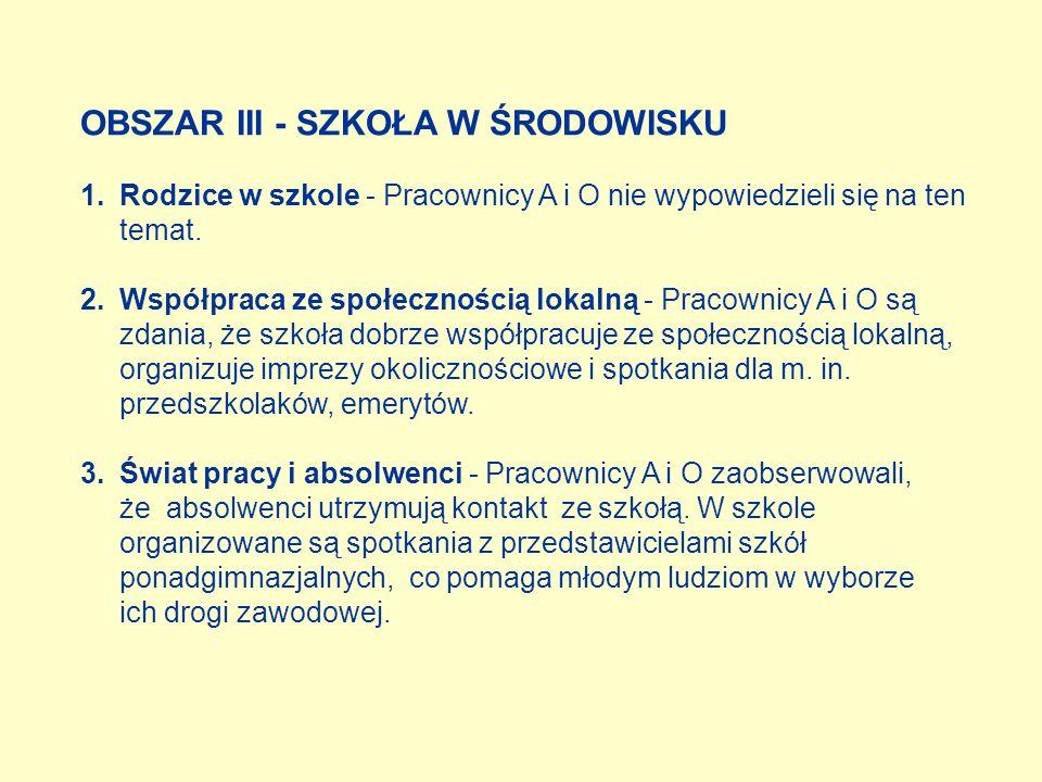 OBSZAR III - SZKOŁA W ŚRODOWISKU 1.Rodzice w szkole - Pracownicy A i O nie wypowiedzieli się na ten temat. 2.Współpraca ze społecznością lokalną - Pra