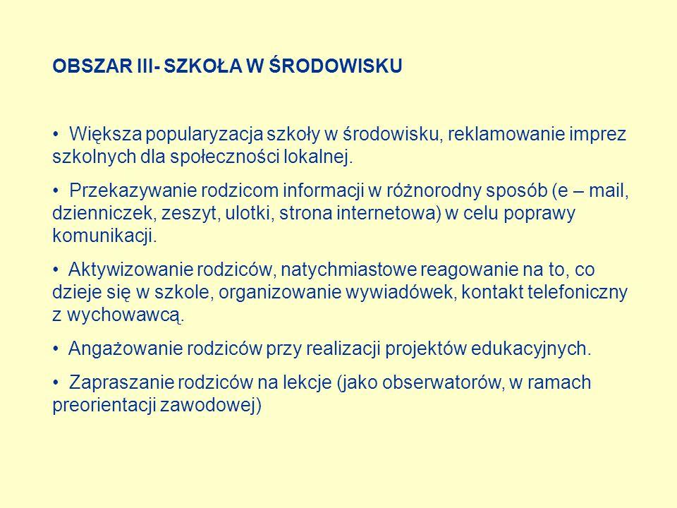 OBSZAR III- SZKOŁA W ŚRODOWISKU Większa popularyzacja szkoły w środowisku, reklamowanie imprez szkolnych dla społeczności lokalnej. Przekazywanie rodz