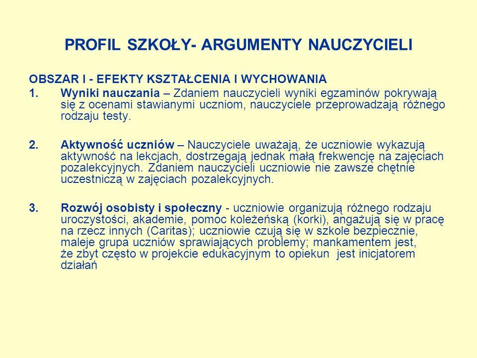 OBSZAR IV - ORGANIZACJA I ZARZĄDZANIE 1.Szkoła jako miejsce nauki - Pracownicy A i O bardzo wysoko oceniają stan wyposażenia szkoły.