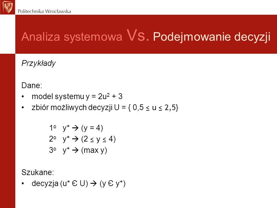 Analiza systemowa Vs. Podejmowanie decyzji Przykłady Dane: model systemu y = 2u 2 + 3 zbiór możliwych decyzji U = { 0,5 u 2,5 } 1 o y* (y = 4) 2 o y*