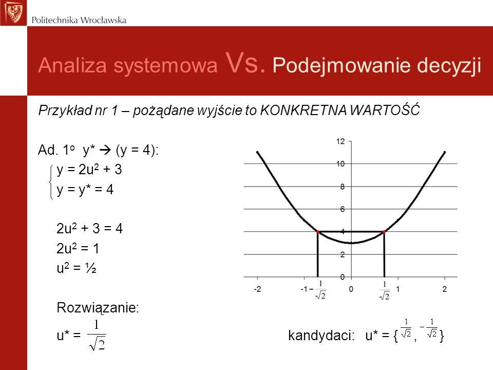 Analiza systemowa Vs. Podejmowanie decyzji Przykład nr 1 – pożądane wyjście to KONKRETNA WARTOŚĆ Ad. 1 o y* (y = 4): y = 2u 2 + 3 y = y* = 4 2u 2 + 3